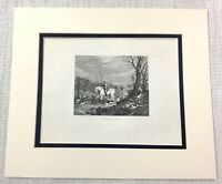 1843 Antique Fox Hunting Print Throwing Off Horse Hounds Dogs Old Engraving