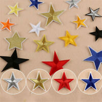 10pcs Embroidery Sew Iron On Patches Badges Clothes Appliques Star Shaped 4.4cm