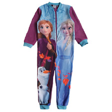 Frozen Pyjamas Girls Disney Frozen Fleece All In One Pyjamas Age 3-8 Years