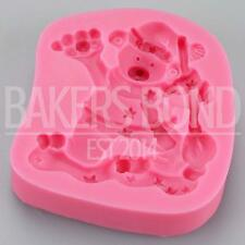 Christmas Stars Teddy Bear Silicone Mould Fondant Icing Cake Cupcake Topper Baki
