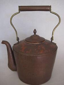 """Vintage Large Handmade Copper Tea Kettle Pot, 11 1/2"""" H X 9 1/2 """" L (Rare)"""