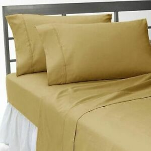 1000 Thread Count Soft Egyptian Cotton US-Bedding Items All Sizes Beige Solid
