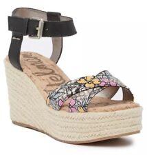 Sam Edelman Espadrille Platform Destin Wedge Black Floral Ankle Strap MSRP: $130