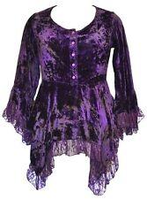 Ladies Purple Gothic Victorian Steampunk TyeDye Crushed Velvet Blouse Size 22-24