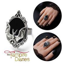 The Vampire Diaries: Gothic, Vampire, Antique Silver, Adjustable Size Bat Ring