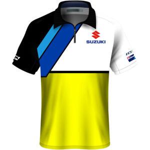 Factory Effex Suzuki Team Pit Shirt (White / Yellow) Choose Size