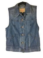Levi's Women's Size S Light Wash Trucker Biker Denim Blue Jean Vest Pockets