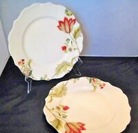 """222 Fifth Bella Donna Set Of 2 Dinner Plates Floral Scalloped Porcelain 10 3/4"""""""