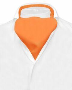 Vesuvio Napoli ASCOT Solid ORANGE Color Cravat Mens Neck Tie