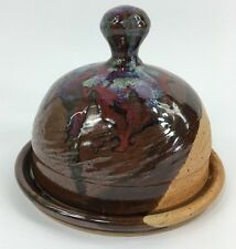 Pottery Drip Glaze Covered Dome Dish Cheese Pastry Art Signed