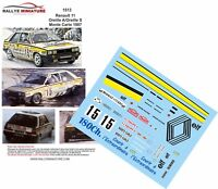 DECALS 1/43 REF 1513 RENAULT 11 TURBO ALAIN OREILLE RALLYE MONTE CARLO 1987