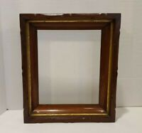 Vintage Antique Wood Gold Gilt Deep Well Picture Frame Mahogany Scroll Wooden