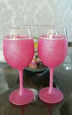 2 fully glittered large wine glasses with diamante in pink