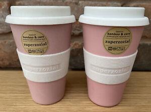 Zuperzozial Cruising Travel Mug Pink 2 Pack Bamboo/Corn Environment-friendly