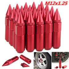 20pc JDM M12x1.25 Red Spiked Aluminum Extended Tuner Wheels / Rims Lug Nuts 60mm