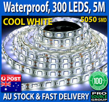 5M 5050 Cool White LED Strip 300 Leds Waterproof IP65 12V Flexible Bright Light