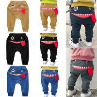 Toddler Baby Kids Boys Stylish Pants Cartoon Shark Tongue Harem Long Trousers UK