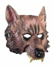 WEREWOLF WOLF ANIMAL w/FANGS PVC PLASTIC 1/2 FACE MASK ADULT HALLOWEEN ACCESSORY