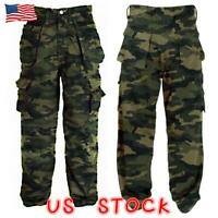 Men's Camouflage Camo Cargo Combat Army Pants Military Casual Work Trousers New