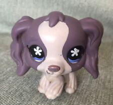 LPS Toys #672 RARE Littlest Pet Shop Purple Cocker Spaniel Dog avec yeux bleu S