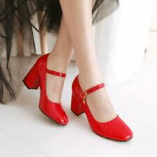 Women Block High Heels Patent Leather Ankle Strap Pumps Round Toe Party Shoes