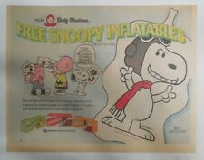 """Dolly Madison Ad: """"Free! Snoopy Inflatables"""" from 1975 Size: ~11 x 15 inches"""