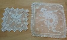 Antique Filet Lace Mythical Dragon and Bird Samplers
