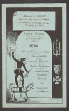 Menu. Pique-Nique de la Sainte Anne et Mie. Monsieur le Major. 5 avril 1879