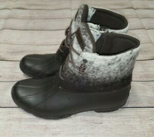 Sperry Top-Sider Saltwater Duck Boot Womens Brown/Ivory Ombre Wool/Rubber