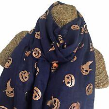Halloween foulard rose feuille d'or en relief Citrouille Visage Bleu nuit 100% coton
