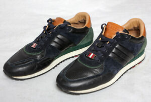 Bally Switzerland Luxury Leather Suede Trainers Black Blue Green Brown UK 7 VGC