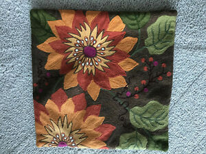"""Crate & Barrel Lucciana Nutmeg Embroidered Pillow Cover 18' x 18"""""""