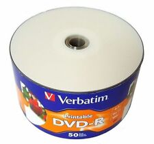 100 VERBATIM Blank DVD-R DVDR 16X 4.7GB White Inkjet Printable Media Disc
