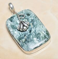 "Handmade Russian Seraphinite Gemstone 925 Sterling Silver Pendant 2.25"" #P06207"