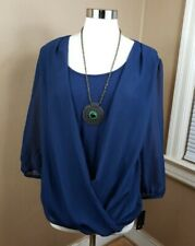 NWT ABStudio Women's XL Navy Medallion Necklace Top Semi-Sheer Long Sleeve