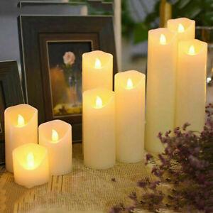 Flameless Electric Pillar Candles Flickering LED Wax Candles Tea Light Wedding
