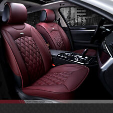 NEW Luxury Wine Red Full PU Leather Winter Car Seat Cover Set Seat Cushion Pad
