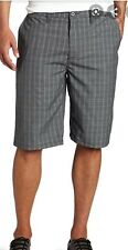 NWT Hurley Surfer Beach Barcelona Walk Dress Shorts Gray Plaid Check Size 38