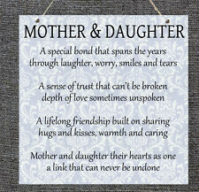 Wooden Plaque Mother and Daughter Mother's Day Gift Present Home Sign Love