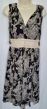 Oscar by Oscar de la Renta Black & Ivory Sleeveless 100% Silk A-line Dress Sz 6
