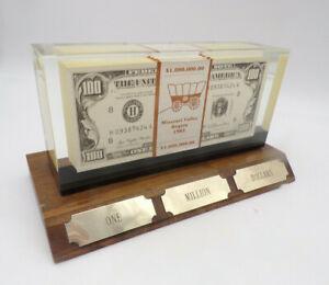1983 IBM Achievement Award ONE MILLION DOLLARS Encased in Acrylic Wood Base