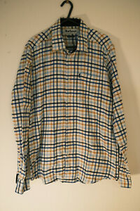 MENS BARBOUR WHITE BLUE YELLOW SOFT COTTON SHIRT SIZE M MEDIUM TAILORED FIT