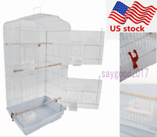 "Us Portable 37"" Parrot Canary Parakeet Finch Bird Cage w/ Wood Perches Food Cups"