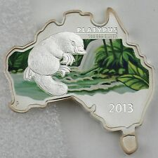 Australia 2013 $1 PLATYPUS - AUSTRALIAN MAP SHAPED COIN SERIES - 1 oz SILVER