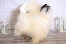 Genuine Natural Beige Black Icelandic Sheepskin Rug long fur #ISLSH24