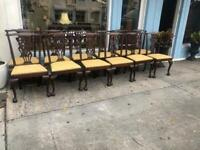 Set of 14 Antique Chippendale Style Mahogany Dining Chairs.