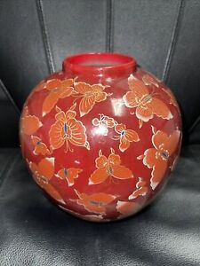 Vintage Ware Porcelain Red Fat Vase Gold Butterfly Made In China