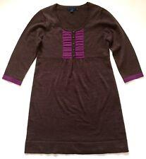 Boden 100% Wool Sweater Sheath Dress Brown Purple 3/4 Sleeve Pleated UK 10 US 6