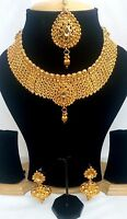 India Traditional Golden color Set Necklace Earring Maaang tika Gold Plated Set.