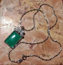 Jade Coloured Cabochon Glass And Butterfly Crystal Pendant Necklace